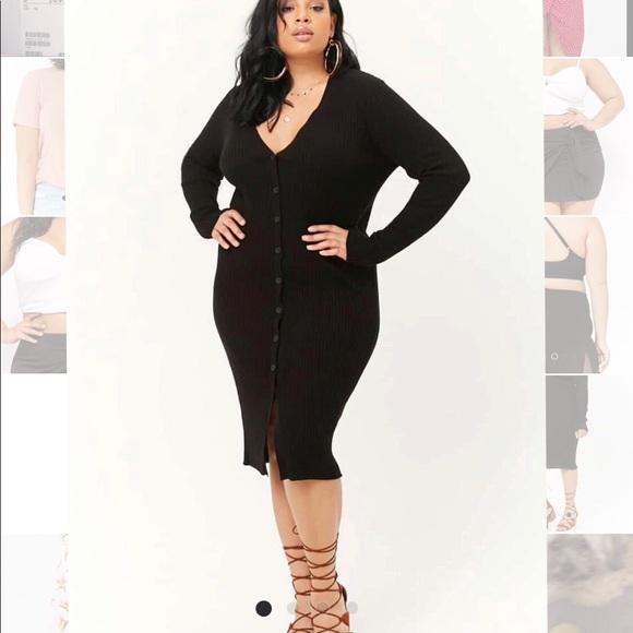 Forever 21 Dresses Black Button Down Sweater Dress Poshmark